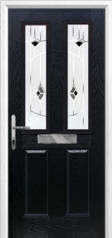 2 Panel 2 Square Murano Composite Front Door in Black