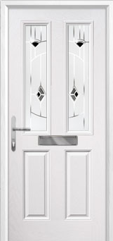 2 Panel 2 Square Murano Composite Front Door in White