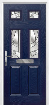 2 Panel 4 Square Abstract Composite Front Door in Blue