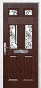 2 Panel 4 Square Abstract Composite Front Door in Darkwood