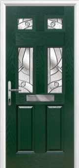 2 Panel 4 Square Abstract Composite Front Door in Green