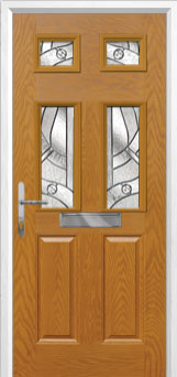 2 Panel 4 Square Abstract Composite Front Door in Oak