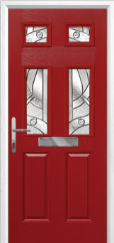 2 Panel 4 Square Abstract Composite Front Door in Red