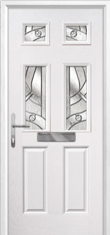2 Panel 4 Square Abstract Composite Front Door in White