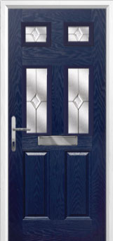 2 Panel 4 Square Classic Composite Front Door in Blue