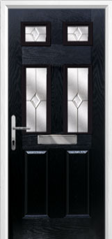2 Panel 4 Square Classic Composite Front Door in Black