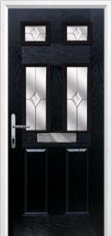 2 Panel 4 Square Classic Composite Front Door in Black