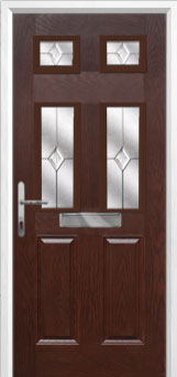 2 Panel 4 Square Classic Composite Front Door in Darkwood