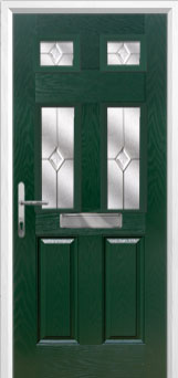 2 Panel 4 Square Classic Composite Front Door in Green