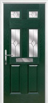 2 Panel 4 Square Classic Composite Front Door in Green