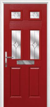 2 Panel 4 Square Classic Composite Front Door in Red