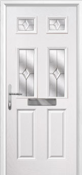 2 Panel 4 Square Classic Composite Front Door in White