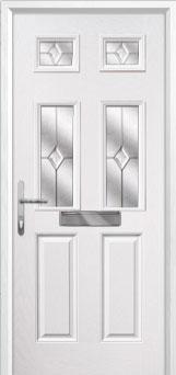 2 Panel 4 Square Classic Composite Front Door in White