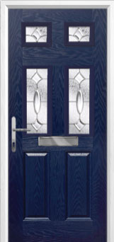 2 Panel 4 Square Zinc/Brass Art Clarity Composite Front Door in Blue