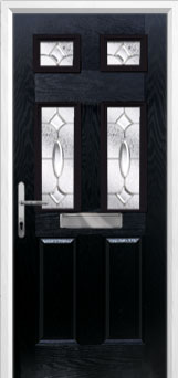 2 Panel 4 Square Zinc/Brass Art Clarity Composite Front Door in Black