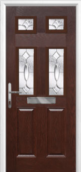 2 Panel 4 Square Zinc/Brass Art Clarity Composite Front Door in Darkwood