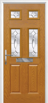 2 Panel 4 Square Zinc/Brass Art Clarity Composite Front Door in Oak