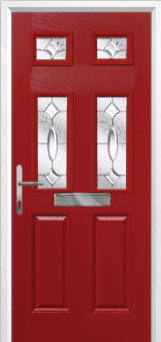 2 Panel 4 Square Zinc/Brass Art Clarity Composite Front Door in Red