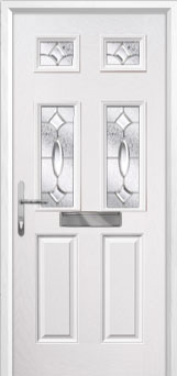 2 Panel 4 Square Zinc/Brass Art Clarity Composite Front Door in White