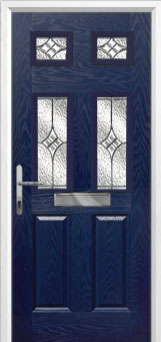 2 Panel 4 Square Elegance Composite Front Door in Blue