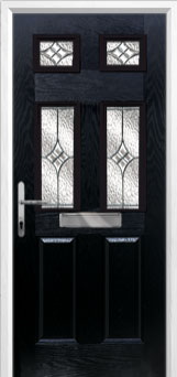 2 Panel 4 Square Elegance Composite Front Door in Black