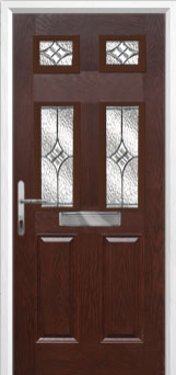 2 Panel 4 Square Elegance Composite Front Door in Darkwood