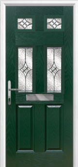 2 Panel 4 Square Elegance Composite Front Door in Green