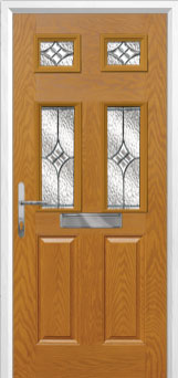 2 Panel 4 Square Elegance Composite Front Door in Oak