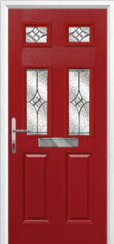 2 Panel 4 Square Elegance Composite Front Door in Red