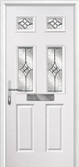 2 Panel 4 Square Elegance Composite Front Door in White