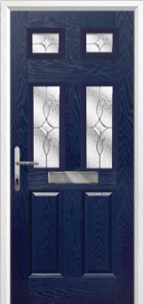 2 Panel 4 Square Flair Composite Front Door in Blue