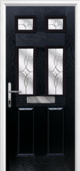 & 2 Panel 4 Square Flair Composite Front Door in Black