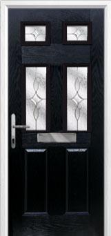 2 Panel 4 Square Flair Composite Front Door in Black
