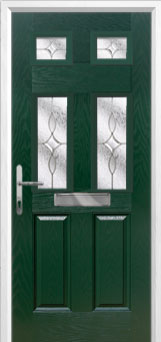 2 Panel 4 Square Flair Composite Front Door in Green