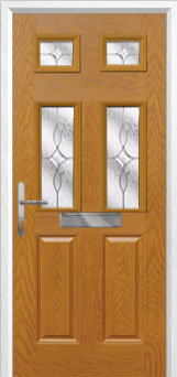 2 Panel 4 Square Flair Composite Front Door in Oak