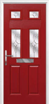 2 Panel 4 Square Flair Composite Front Door in Red