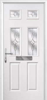 2 Panel 4 Square Flair Composite Front Door in White
