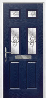 2 Panel 4 Square Finesse Composite Front Door in Blue