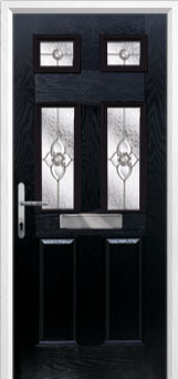 2 Panel 4 Square Finesse Composite Front Door in Black