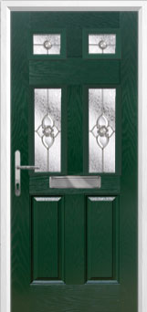 2 Panel 4 Square Finesse Composite Front Door in Green