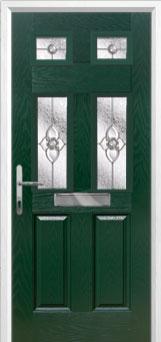 2 Panel 4 Square Finesse Composite Front Door in Green