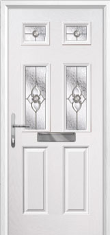 2 Panel 4 Square Finesse Composite Front Door in White