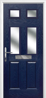 2 Panel 4 Square Glazed Composite Front Door in Blue