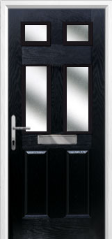 2 Panel 4 Square Glazed Composite Front Door in Black