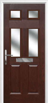 2 Panel 4 Square Glazed Composite Front Door in Darkwood