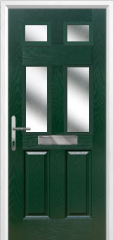 2 Panel 4 Square Glazed Composite Front Door in Green