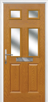 2 Panel 4 Square Glazed Composite Front Door in Oak