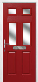 2 Panel 4 Square Glazed Composite Front Door in Red