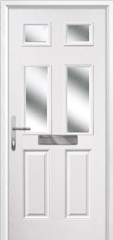 2 Panel 4 Square Glazed Composite Front Door in White