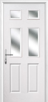 2 Panel 4 Square Glazed Composite Back Door in White